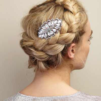 silver hair clip wedding hair