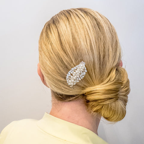 silver pearl hair clip diamante in wedding guest hair