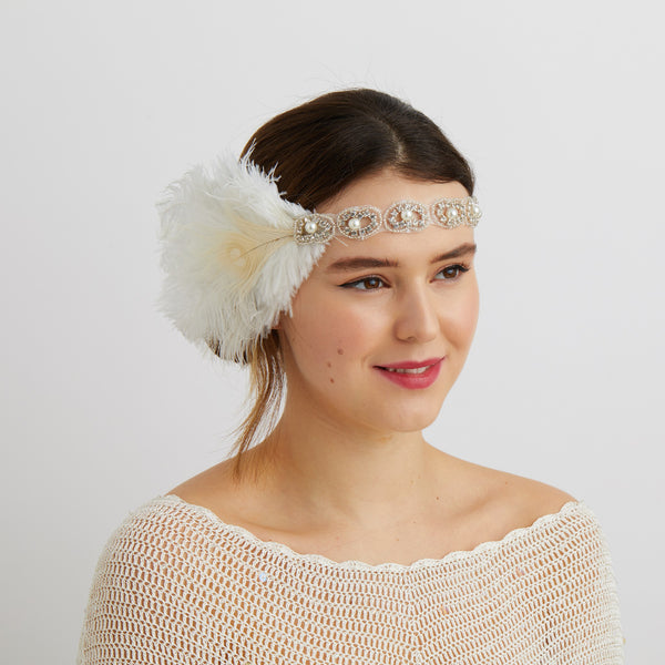 white gatsby headpiece with pearls for 1920s bride
