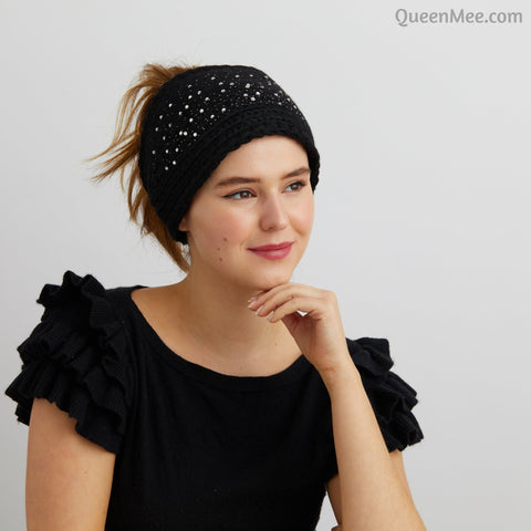 black knitted headband sparkly