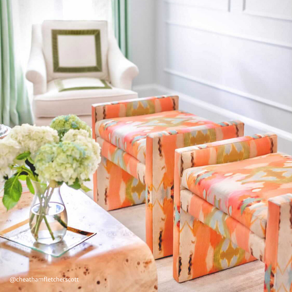 Orchid Blossom Navy Linen Cotton Pillow