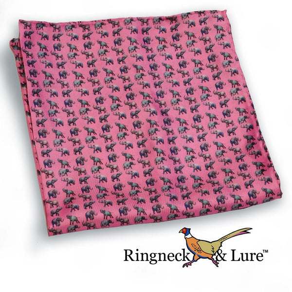 Elephants-Raspberry Pocket Square