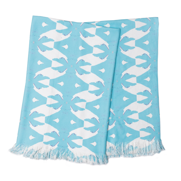Palm Blue Throw Blanket