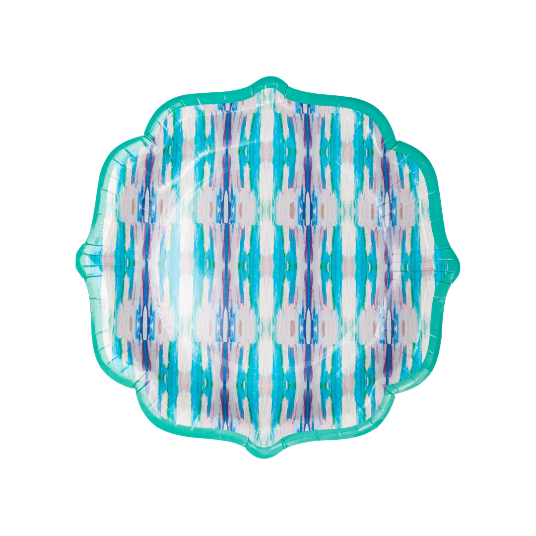 "Flower Child Teal Cocktail Plates <span style=""color:#00ADB3;font-weight:600;"">NEW</span>"