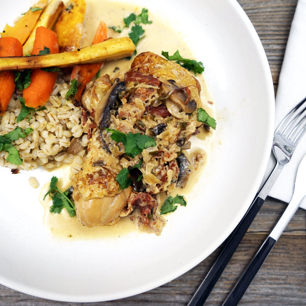 Coq au riesling with roasted vegetables & barley