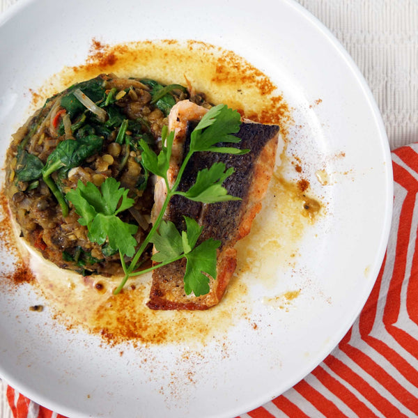 Pan-fried salmon, spinach and lentil dhal