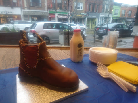 Chocolate Easter Blundstone Cake in our Australian Boot Company in Toronto Store window.