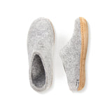 Slipper with Leather Sole in Grey