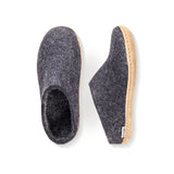 Slipper with Leather Sole in Black