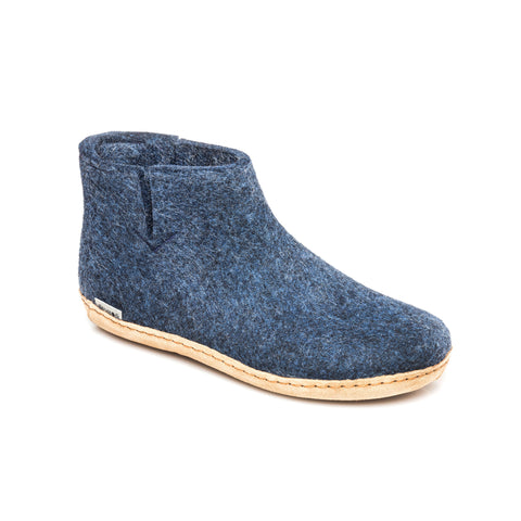 Boot with Leather Sole in Denim