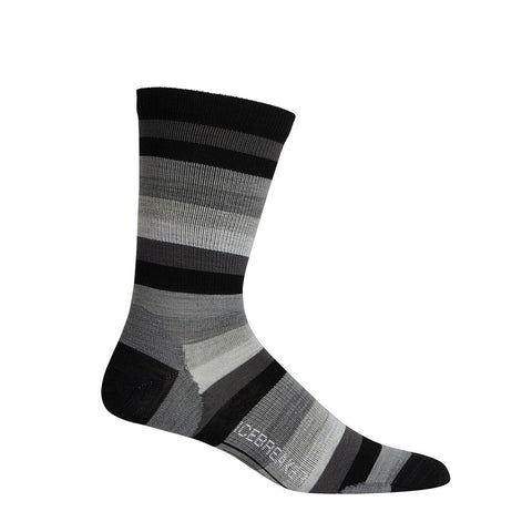 Icebreaker Men's Lifestyle Ultralight Crew Stripe Black/Monsoon