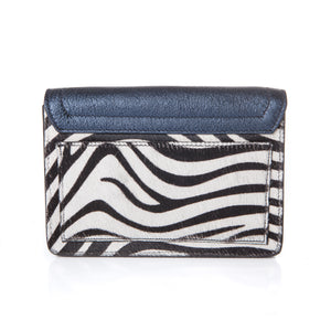 Samuel Bag in Metallic Midnight Blue and Zebra Calf Hair