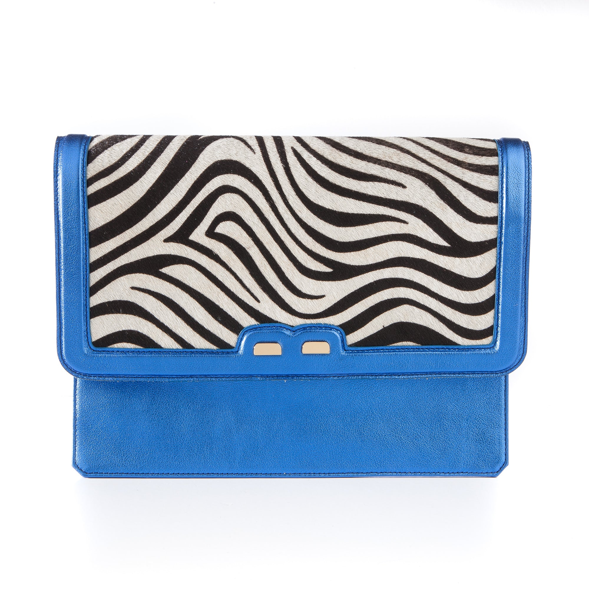 Caffery in Metallic Royal Blue and Zebra Calf Hair