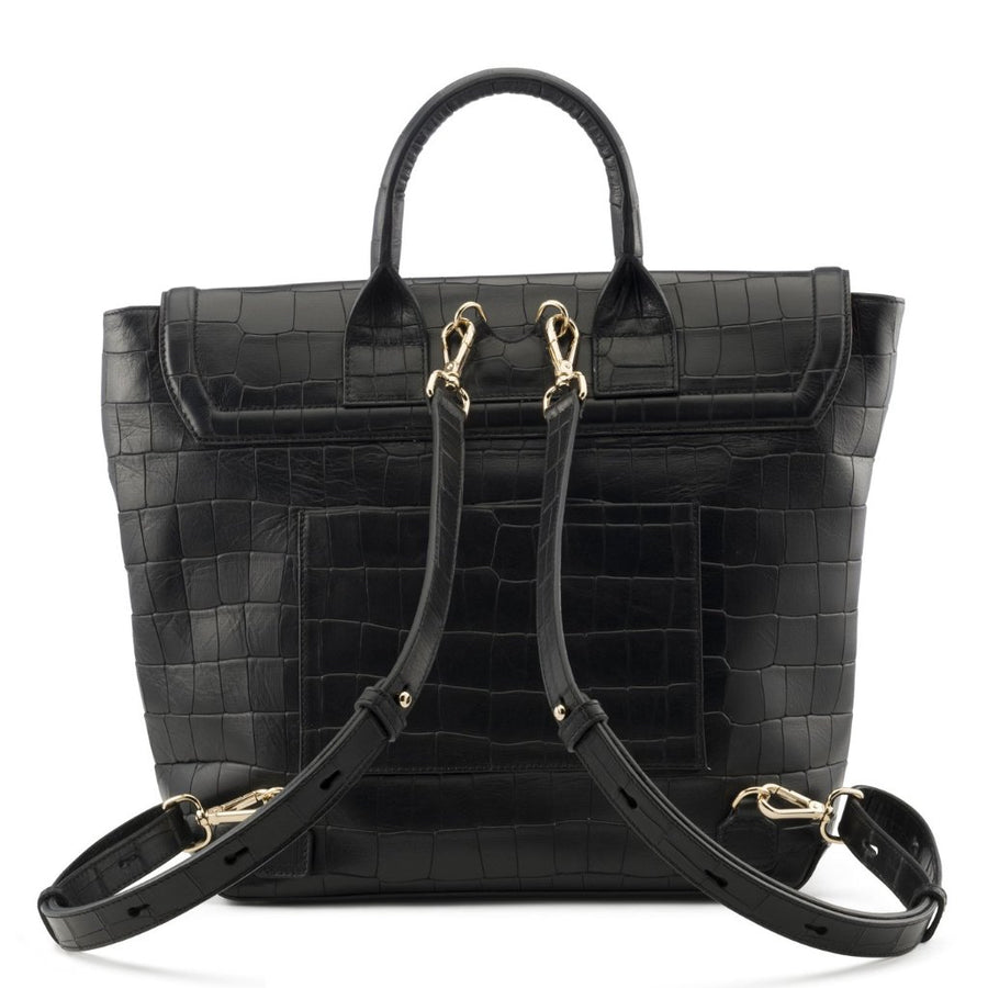 PRE-FALL Black Alligator Stamp Blakemore Bookbag - BENE Handbags