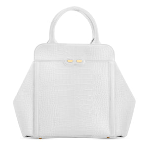 Nott in White Alligator Stamp - BENE Handbags