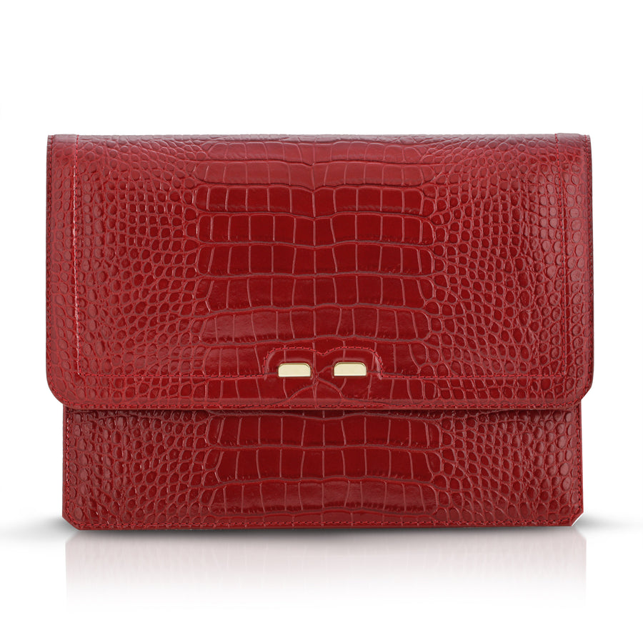 Caffery in Red Alligator Stamp - BENE Handbags