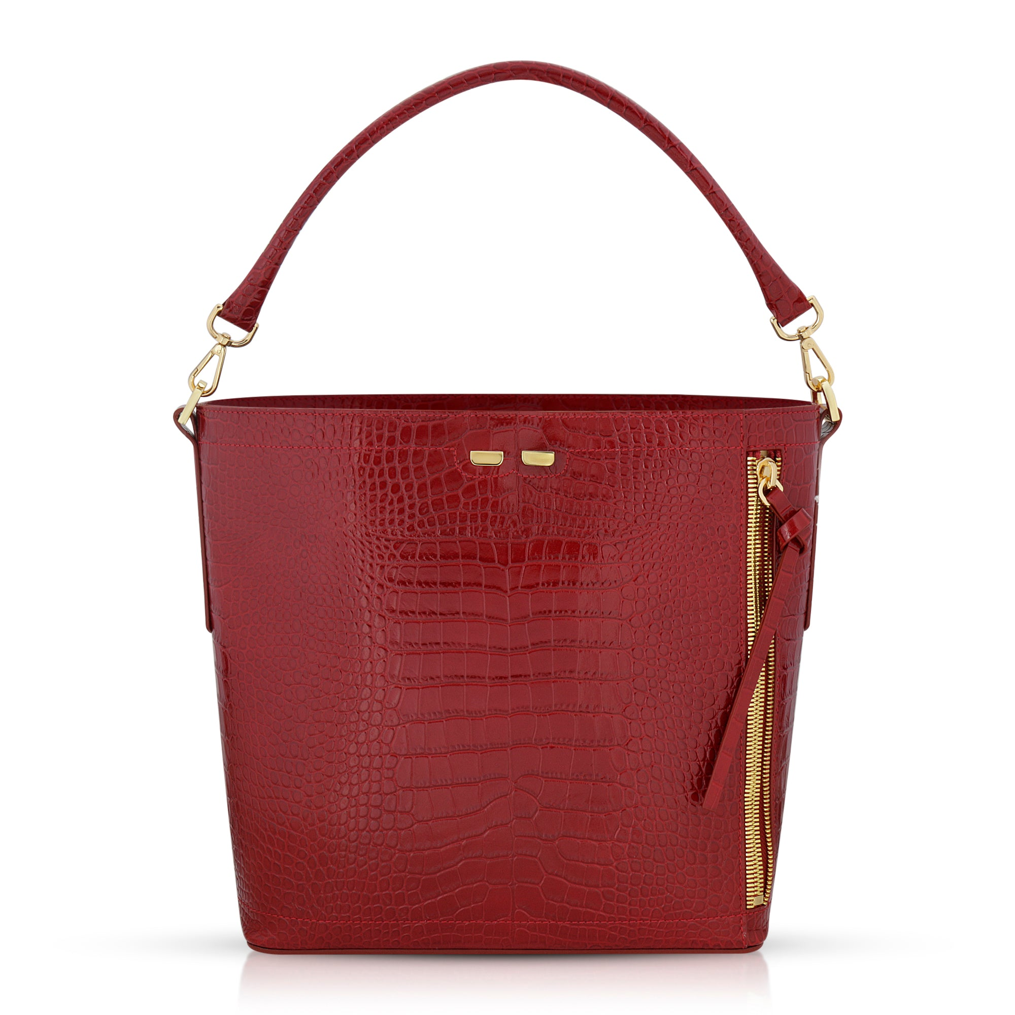 Bud Bucket in Red Alligator - BENE Handbags