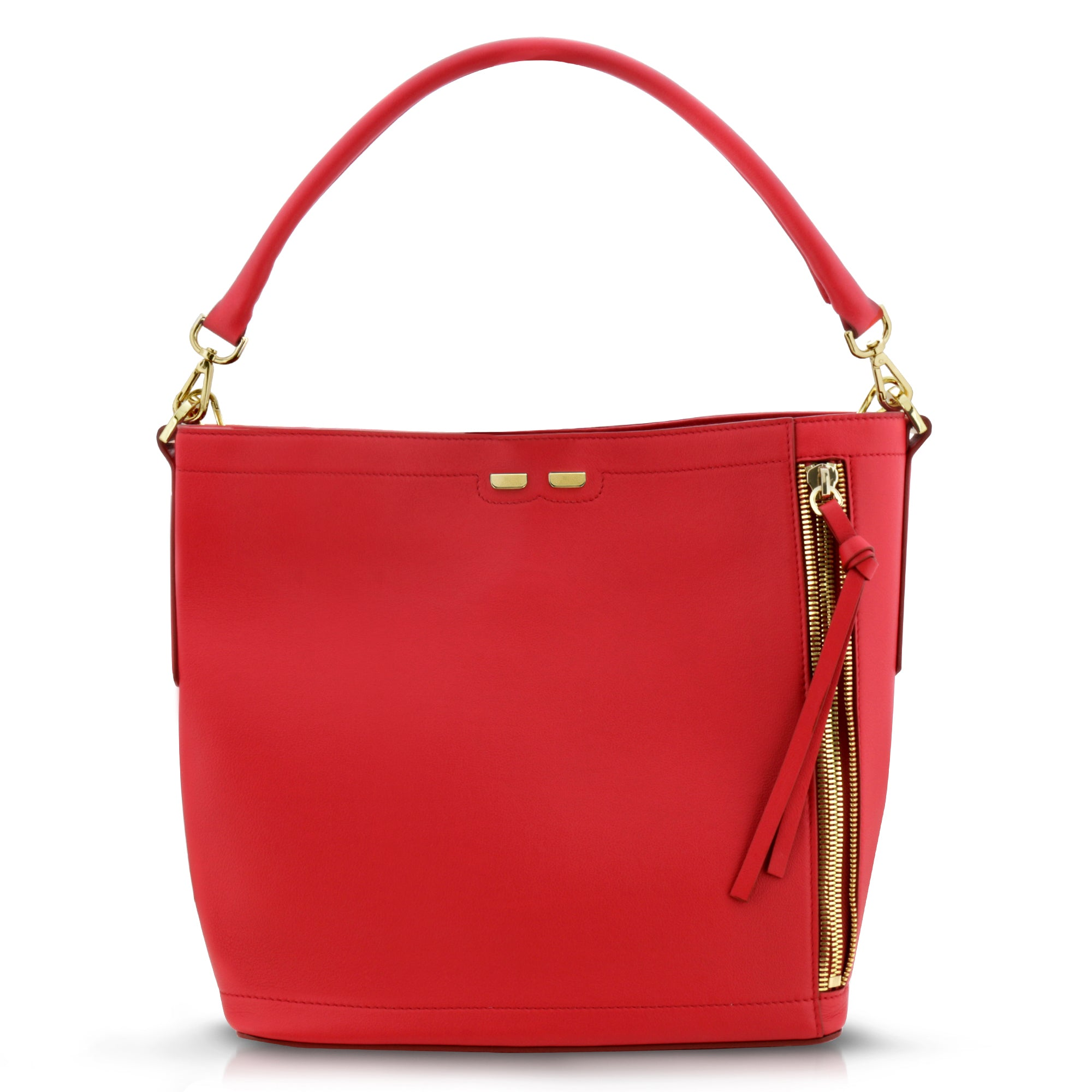 Bud Bucket in Red Smooth - BENE Handbags