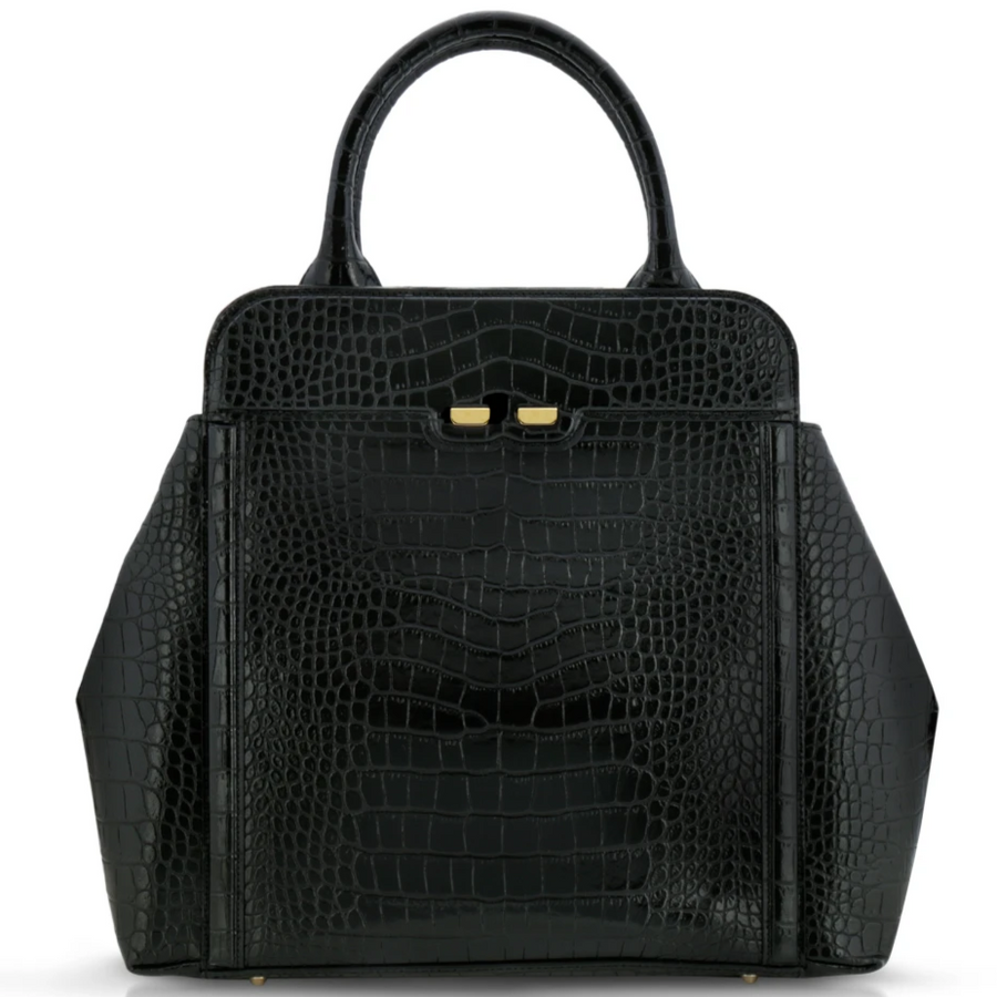 Nott in Black Alligator Stamp - BENE Handbags