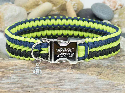Black, Navy Blue and Lime Green Paracord Dog Collar