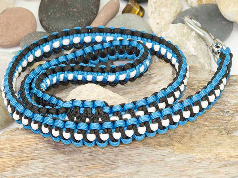 Black, White and Blue Paracord Dog Lead