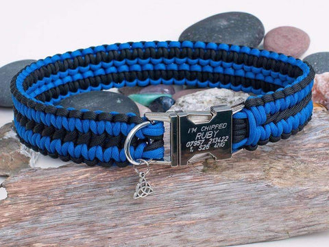 Engraved Blue and Black Paracord Dog Collar