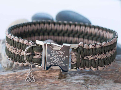 Engraved Khaki Green and Desert Camo Paracord Dog Collar