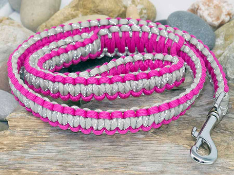 Paracord Dog Lead Dark Pink and Reflective Silver