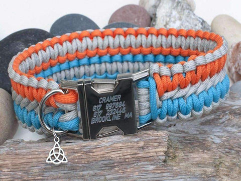 Engraved Dog Collar Reflective Grey, Orange and Turquoise