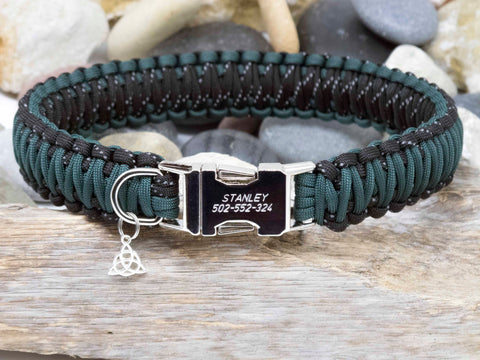 Hunter Green and Reflective Black King Cobra Dog Collar