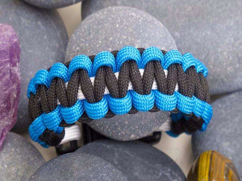 Paracord Survival Bracelet - Aqua Blue, Black & White