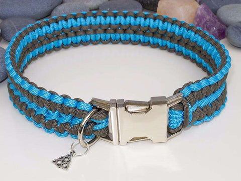 Turquoise & Brown Paracord Dog Collar - Extra Wide