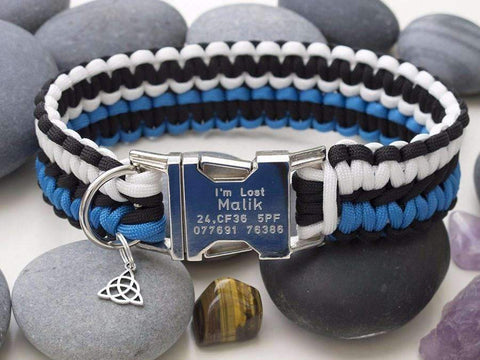 Dog Collar - Black, White & Blue Made from Paracord