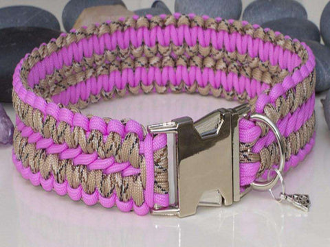 Pink & Desert Camo Extra Wide Paracord Dog Collar