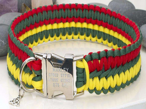 Rasta Paracord Dog Collar with Engraved Metal Buckle