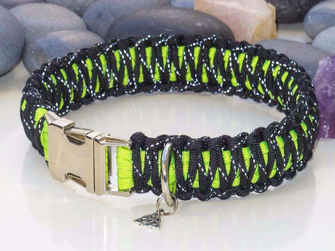 Reflective Black & Green Paracord Dog Collar - Wide