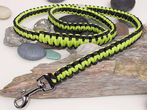Reflective Black and Green Paracord Dog Lead