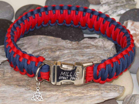 Navy Blue & Red King Cobra Paracord Dog Collar