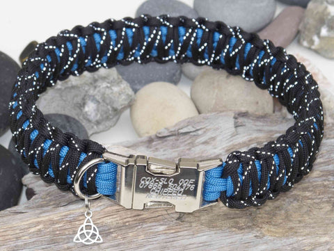 Reflective Black & Blue Paracord Dog Collar - Engraved