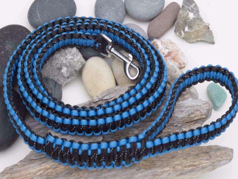 Reflective Black & Blue Paracord Dog Lead