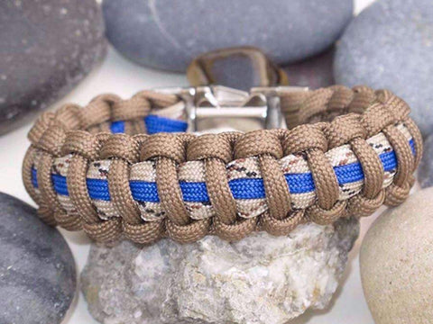 Desert Camo, Blue & Brown Paracord Survival Bracelet