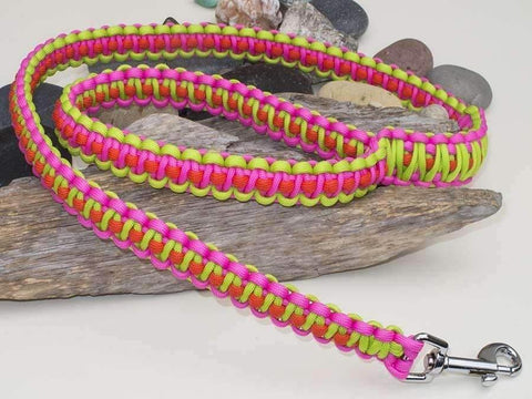 Neon Pink, Orange & Green Paracord Dog Lead