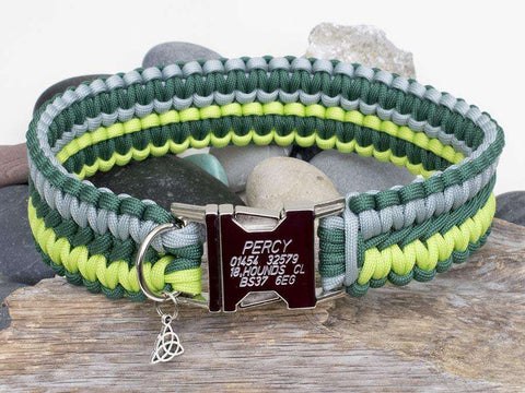 Engraved Paracord Dog Collar Silver Grey, Hunters Green & Kelly Green
