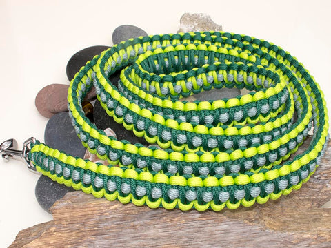 Two Tone Green & Silver Paracord Dog Lead