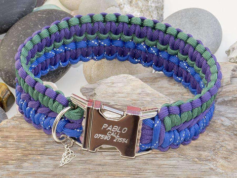 Engraved Paracord Dog Collar Reflective Blue, Purple & Green