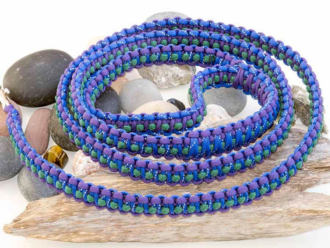 Reflective Blue, Purple and Green Paracord Dog Lead