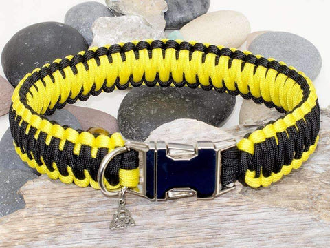Black & Yellow King Cobra Style Paracord Dog Collar