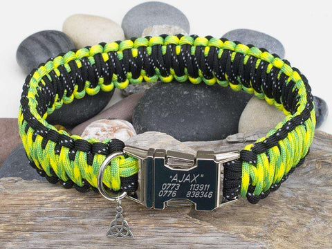 Reflective Black & Yellow Camo Engraved Paracord Dog Collar