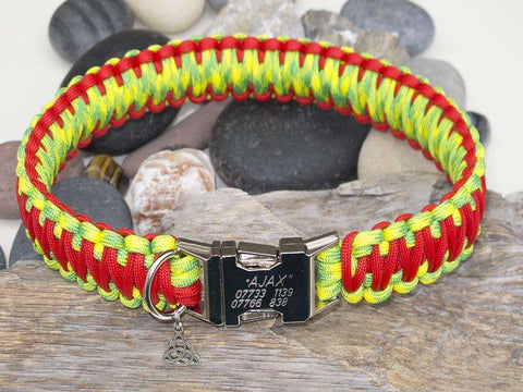 Red & Fluorescent Yellow Camo Engraved Paracord Dog Collar