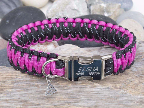 Reflective Black & Dark Pink Paracord Dog Collar - Wide